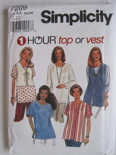 Simplicity Pattern 7209 Misses' Top and Vest Sizes XS-S-M