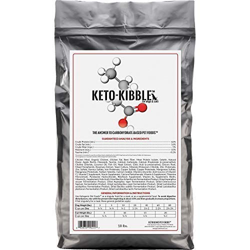 Ketogenic Pet Foods - Keto-Kibble - High Protein, Low Carb, Starch Free, Grain Free Dog & Cat Food - 18 lb. Bag