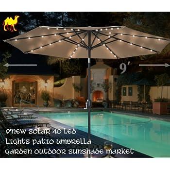 STRONG CAMEL 9u0027NEW SOLAR 40 LED LIGHTS PATIO UMBRELLA WITH CRANK TILT  GARDEN OUTDOOR