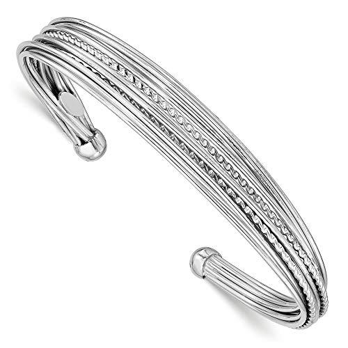 14 Mm Polished Bangle - 925 Sterling Silver Rhodium-plated 14mm Polished RoundCuff Bangle Bracelet