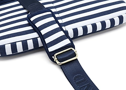 Kayond Canvas Fabric Ultraportable Neoprene Laptop Carrying Case/Shoulder Messenger Bag/Daily Briefcase Work/School/Travel(15-15.6, Breton Stripe) by kayond (Image #7)