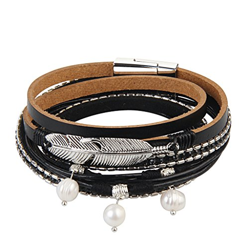 Wrap Pearl Around (Jenia Casual Women Leather Bracelet Feather Wrap Cuff Bangle with Pearl Magnetic Clasp)