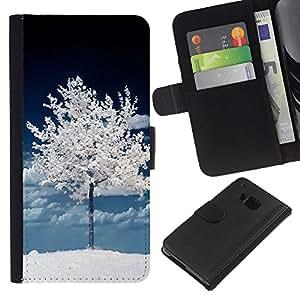 EJOY---La carpeta del tirón la caja de cuero de alta calidad de la PU Caso protector / HTC One M9 / --Árbol Oscuro Blanco Invierno Naturaleza Nieve