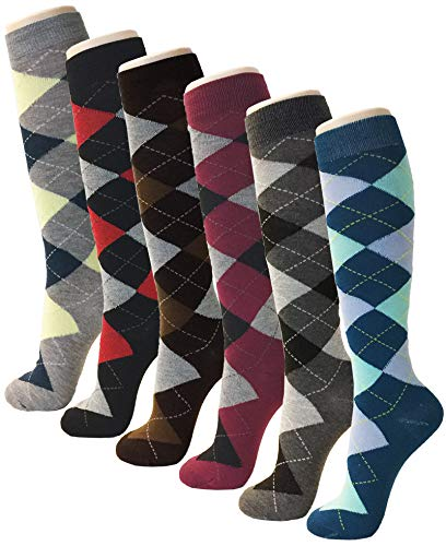 6 Pairs Knee High for Women Casual Fun Fashion Socks Comfortable Soft Lightweight Fancy Print Multi Color Patterned