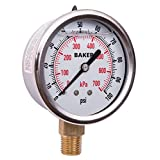 """Baker Instruments AVNC Series Stainless Steel Dual Scale Pressure Gauge, 0 to 100 psi / kPa, 2.5""""Dial, +/-1.6% Accuracy, 1/4"""" NPT Bottom Mount, Glycerine Filled"""