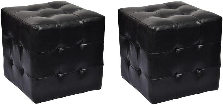 YCOCO Nero Pouf con piccolo cubo poggiapiedi in ecopelle colore