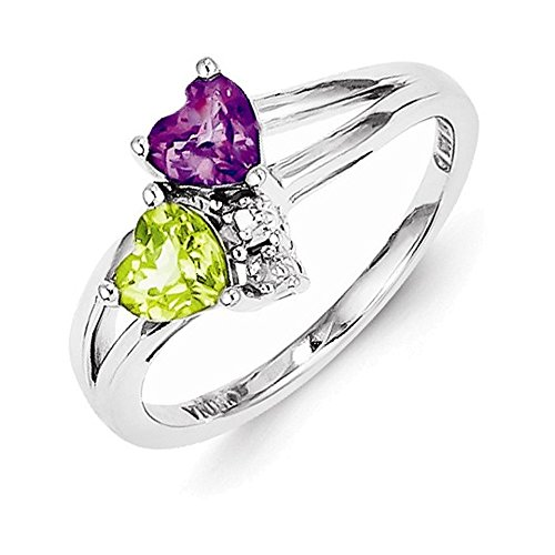 Jewelry Adviser Rings Sterling Silver Rhodium Amethyst Peridot Diam. Ring