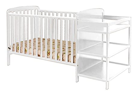 Superbe Furniture World Corona Crib With Attached Changing Table, White