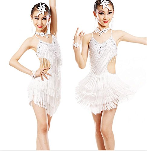 Childrensgirls-Latin-dance-show-costumesshiny-tassel-dresses-2525m-white