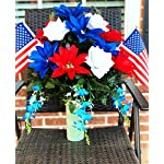 starbouquets-Patriotic-Cemetery-Vase-Arrangement-Beautiful-Red-Navy-Blue-Dahlias-and-White-Rose-Silk-Flowers-and-US-Flag-for-a-3-Inch-Vase-Fathers-Day-Memorial-Day-Cemetery-vase-Flower