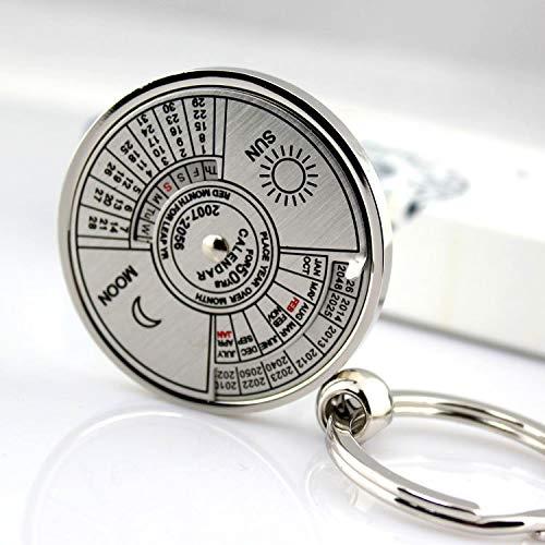 APMIX 1PCS 50 Years Cute Creative Perpetual Calendar Circular Titanium Steel Pendant Keychain Birthday Gift Car Key Pendant