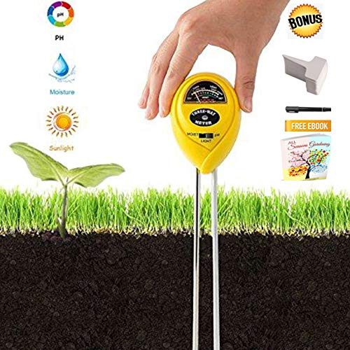(DreamHome 3 in 1 Soil Tester Tool – Analyses Moisture, Light Meter, pH Tester for Balanced Healthy Soil – Perfect for Indoor and Outdoor Plants (No Battery Needed) 6 Plant Tags Included (Yellow))