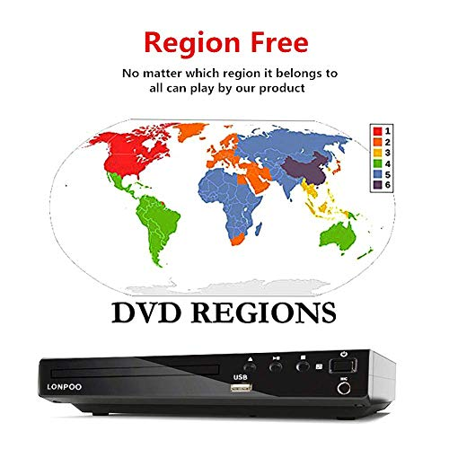LONPOO Compact HD DVD Player All Region Free Support HDMI