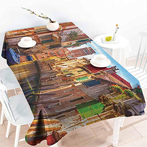 """familytaste European,Table Cloth for Outdoor Picnic Venice Cityscape Narrow Water Canal Building Traditional Old Buildings Heritage 70""""x 102"""" Table Cover for Rectangular Table"""