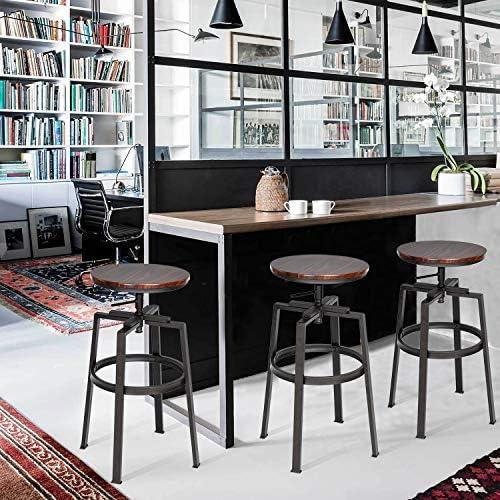 Homy Casa Lot de 2 Tabourets de Bar Industriel en MDF et Métal Style Vintage Hauteur Réglable 61-74 cm