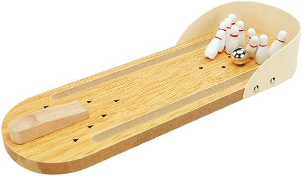 Cubierta de madera Mini Bowling Juego Set mejor partido de la familia juguetes de escritorio del Ministerio del Interior Juegos de mesa Decoración de mesa Juguete de escritorio 1pc: Amazon.es: Juguetes y