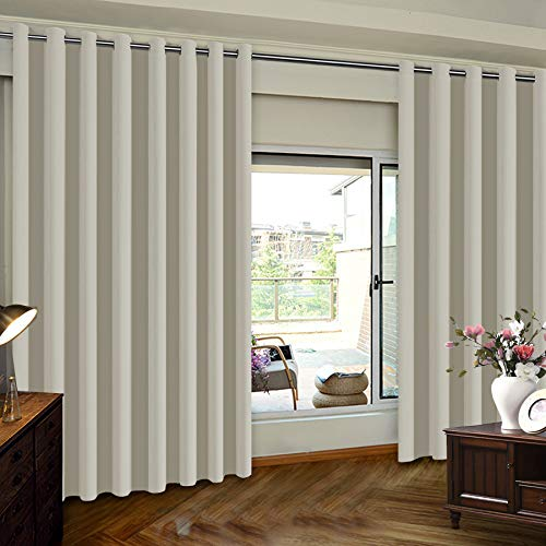 Extra Wide Patio Door Curtains Thermal Insulated Blackout Patio Curtains, Sliding Door Insulated Drape, Soundproof Room Divider Curtains - Grommet Top - Ivory - 100