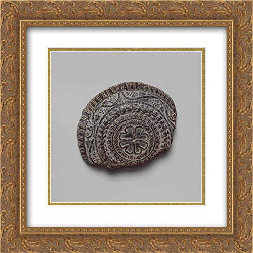 Roman Period - 20x20 Gold Ornate Frame and Double Matted Museum Art Print - Shallow Dish with high Relief Figures of Isis and Falcon-Headed ()