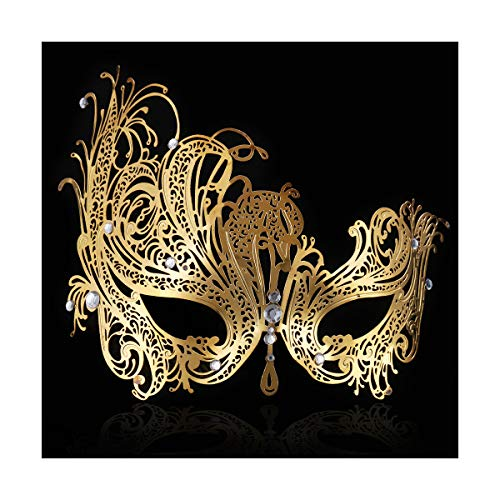 FACEWOOD Masquerade Mask for Women Ultralight Gorgeous Gold & Silver Shiny Metal Rhinestone Mask. (Queen Gold)