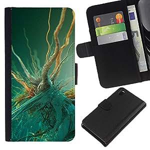 KLONGSHOP // Tirón de la caja Cartera de cuero con ranuras para tarjetas - Macro bacterias - Sony Xperia Z3 D6603 //
