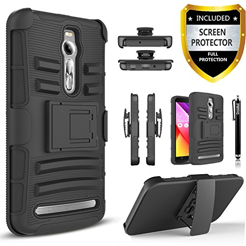 Asus Zenfone 2E Case, Combo Rugged Shell Cover Holster with Built-in Kickstand and Holster Locking Belt Clip Black + HD Screen Protector + Circle(TM) Stylus Touch Screen Pen