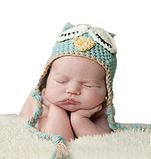 7cd4bb3ca49 Amazon.com  Xikee Kids Baby Boy Girl Crochet Sleepy Owl Hat Beanie ...