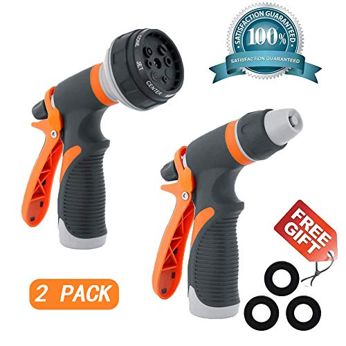 Garden Hose Nozzle Hose Spray Nozzle Sprayer Hose Nozzle Set Garden Hose Nozzle Anti Leak Free High Pressure Heavy Duty 8 Adjustable Watering Patterns for Watering Plant Washing Cars Pets Shower
