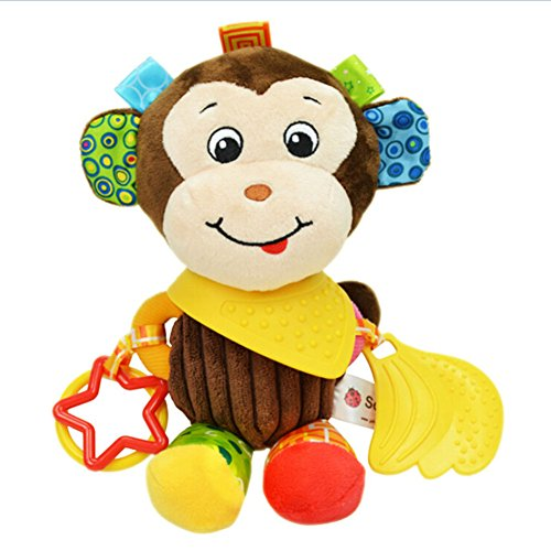 Baby Infant Pram Car Stroller Hanging Rattles Plush Toy Soft Teether Chew Doll - Monkey