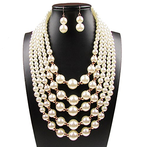 Women Elegant Jewelry Set White Pearl Bead Cluster Collar Bib Choker Necklace and Earrings Suit