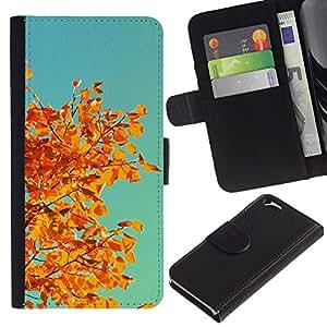 KLONGSHOP // Tirón de la caja Cartera de cuero con ranuras para tarjetas - Otoño Naranja Amarillo Hojas rama de árbol - Apple Iphone 6 //