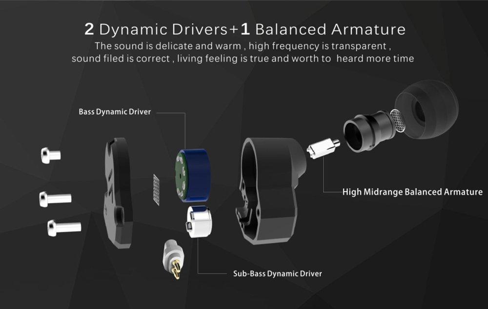 Revonext QT2 Auriculares triples Auriculares metálicos,Auriculares con cable , Deep Bass Driven, Cables reemplazables para reproductores de MP3 (Negro sin ...