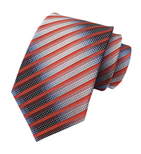 - Men's Narrow Stripe Pattern Ties Orange Red Grey White Handmade Summer Neckties