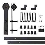 Vancleef 12FT Single Straight Design Sliding Barn Door Hardware Black Rustic Closet Interior Quiet Glide Track Rail Rolling Kit Set Industrial Strength, Easy to Follow Installation Manual Included