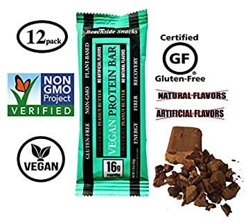 Beachside Snacks Chocolate Peanut Butter Vegan Protein Bar, 16g Protein, 12 ct, 2.18 oz 62g , Plant Based, Non-GMO, Gluten Free, No Artificial Flavors, No Natural Flavors.