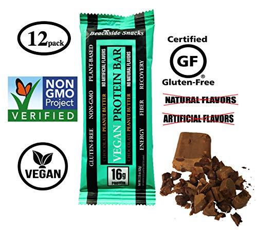 - Beachside Snacks Chocolate Peanut Butter Vegan Protein Bar, 16g Protein, 12 ct, 2.18 oz (62g), Plant Based, Non-GMO, Gluten Free, No Artificial Flavors, No Natural Flavors.
