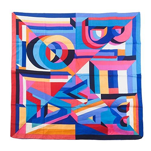 Aquazolax Extra Large Color- Blocking Geometry stitching Print Lightweight Satin Square Scarf Shawl for Women, 49