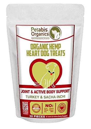 Petabis Organics Organic Hemp Heart Dog Treats - Joint & Active Body Support with Turkey, Sacha Inchi & Camu Camu - 30 pieces