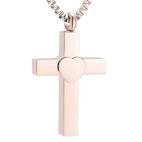 5bf1ea141a79 Fantasyland Jewelry Hombres Negro Cruz del Corazón Collar de urna ...