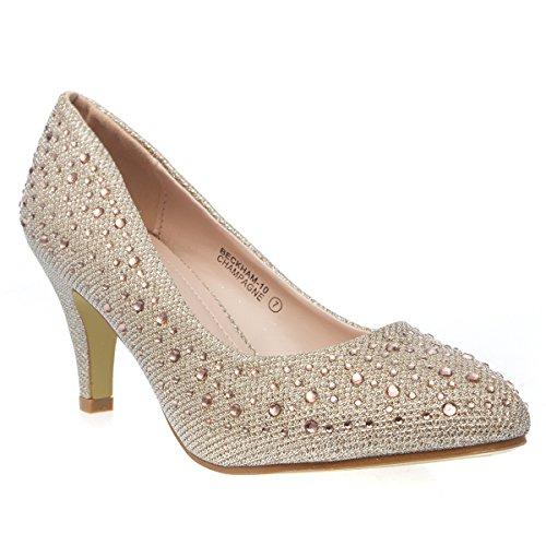 Med Heel Pump (V-Luxury Womens 40-BECKHAM10 Pointy Toe Evening Med Heel Stiletto Pump Shoes, Champagne Glitter, 8.5 B (M) US)