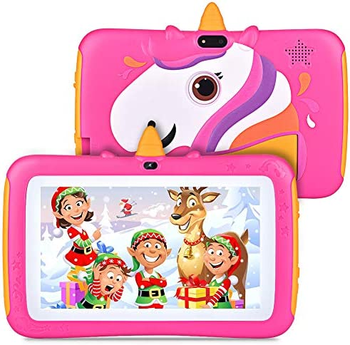Tablet for Kids 7 inch Kids Tablet, 2GB RAM 16GB ROM, Android 9.0 Tablet, Parent Control, IPS HD Display, Kid-Proof, WiFi, Google Certified Playstore, Android Tablet, Rose