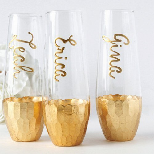 Personalized Hand Painted Gold or Rose Gold Stemless Champage Flutes, Customized with Bridal party and Bridesmaids Names (Elegant Moments Match)