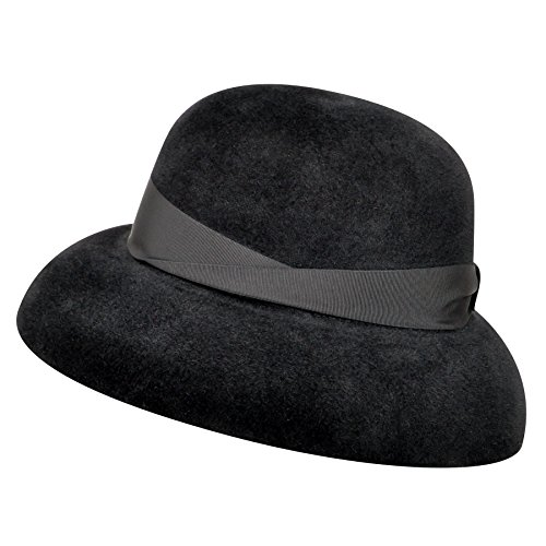 Borsalino Female 250385 Velour Fur Felt Wide Brim Hat Black M by Borsalino