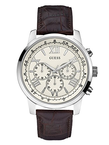 GUESS-Mens-U0380G2-Dressy-Stainless-Steel-Multi-Function-Watch-with-Chronograph-Dial-and-Genuine-Leather-Strap-Buckle