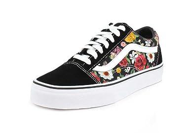 5d403ae8c810 Vans Womens Lux Floral Old Skool Digi Floral Black Sneaker - 4