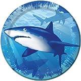 Creative Converting Shark Splash Round Dessert Plates, 8 Count
