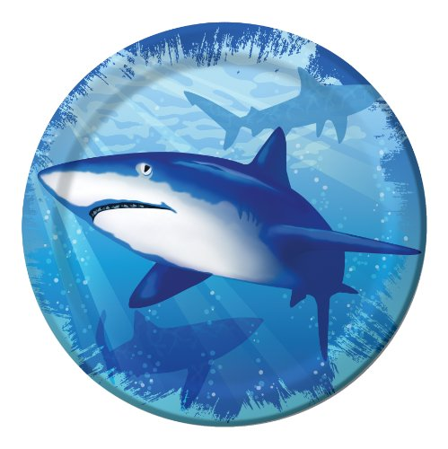 8-Count Round Paper Dessert Plates, Shark Splash]()