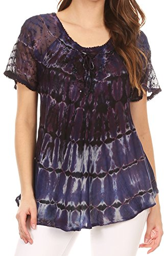 Sakkas 17786 - Isayan Multi Color Embellished Tie Dye Sheer Cap Sleeve Tunic Top - 8-Dark Purple - OS