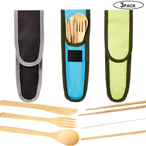 Bamboo Cutlery Set Bamboo Utensil Fork Knife Spoon Chopsticks Straw Cleaning Brush for Travel Picnic Office School (Color Set 1, 3)