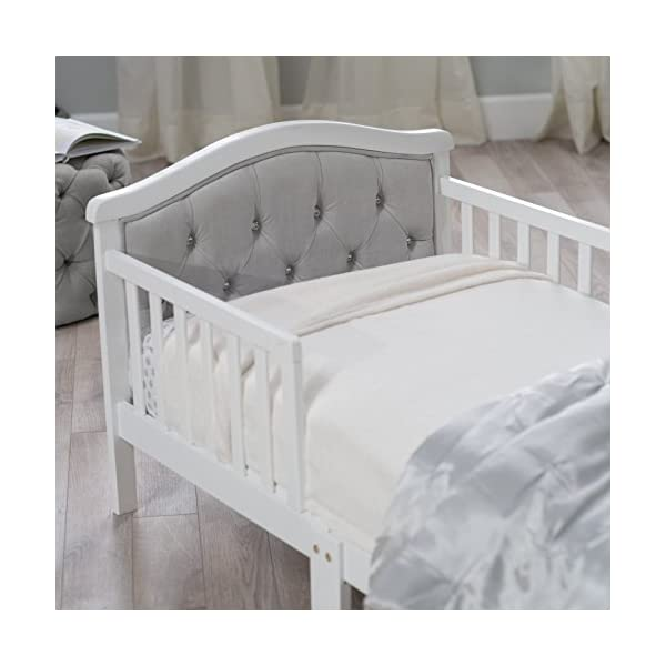 Toddler Bed with Soft Tufted Headboard, Kids Wood Bed Frame with Half Side Rails 5