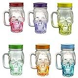 Mason Jar Set of 12 - Skull Glass Drinking Mug 12 Ounce with Lid and Handle - Translucent Glass Mug and Stash Jar